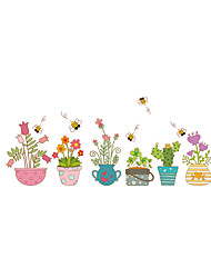 Wall Stickers Wall Decals Style Cartoon Flower Pot PVC Wall Stickers