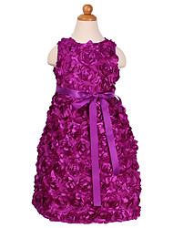 Princess Tea-length Flower Girl Dress - Polyester Sleeveless Jewel with Flower(s) Sash / Ribbon