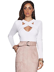 Women's Cross Straps Front Long Sleeve Crop Top
