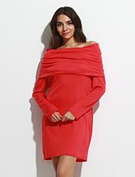 Vestito Da donna Attillato Casual Tinta unita Mini Con cappuccio Misto cotone