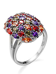 Luxury Brand Rings Red and Purple Round Big Zircon Surround Type Women Jewelry Lady Small Sing AAA White Gold Plated