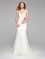 2017 Lanting Bride® Sheath / Column Wedding Dress Simply Sublime Floor-length Straps Lace Tulle with Beading Lace