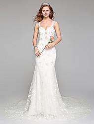 Lanting Bride® Fourreau / Colonne Robe de Mariage  Tout Simplement Superbe Longueur Sol Bretelles Dentelle Tulle avec Perlage Dentelle