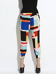 Women's Print Red / Yellow Harem Pants,Simple