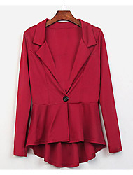 Women's Going out / Work Simple Coat,Solid Shirt Collar Long Sleeve Spring Red Cotton Medium