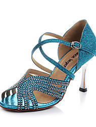 Women's Sandals Summer Other Satin Dress Stiletto Heel Sparkling Glitter Buckle Blue Champagne Fitness & Cross Training