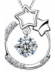 Women's Pendant Necklaces Sterling Silver Zircon Cubic Zirconia Star Jewelry Basic Fashion Silver Jewelry Casual 1pc