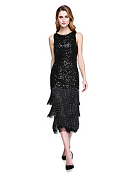 2017 Lanting Bride® Sheath / Column Mother of the Bride Dress - Sparkle & Shine Tea-length Sleeveless Sequined with Sequins Tassel(s)