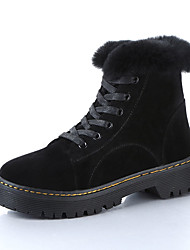 Women's Boots Fall Winter Other Fleece Office & Career Casual Low Heel Lace-up Black Green