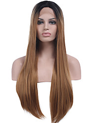 Heat Resistant Synthetic Lace Front Wigs Long Straight Hair Two Tone Ombre T1B/Brown Color Synthetic Hair Fiber Wig For Fashion Woman