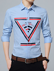 Men's Plus Size Formal Work Simple Cute Street chic Spring Fall Shirt,Solid Striped Button Down Collar Long Sleeve Blue Red White Black