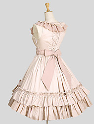 One-Piece/Dress Princess Cosplay Lolita Dress Pink Ivory Solid Sleeveless Knee-length Dress For Women Cotton