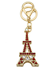 Fashion Paris tower keychain with diamond key buckle