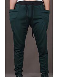 Masculino Pequeno Skinny Chinos Calças-Cor Única Casual Simples Cintura Média Com Cordão Algodão Micro-Elástico Outono