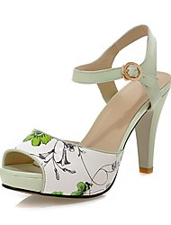 Women's Sandals Summer Comfort Ankle Strap PU Office & Career Party & Evening Casual Stiletto Heel Buckle Split Joint Blue Green Walking