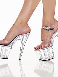 Damen-Sandalen-Hochzeit Kleid Party & Festivität-PVC-Stöckelabsatz Plateau Kristallabsatz-Komfort Neuheit-Silber