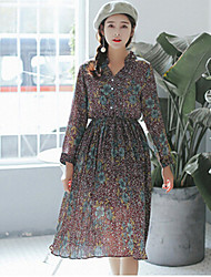 Women's Casual/Daily Holiday Cute Chiffon Dress,Floral Shirt Collar Midi Long Sleeve Polyester Blue Red Spring Mid Rise Micro-elastic