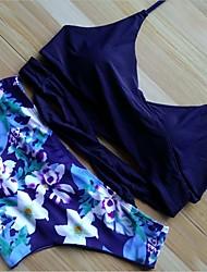 Women's Bikini,Floral Polyester Dark Blue