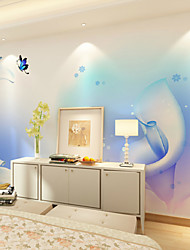 JAMMORY Art DecoWallpaper For Home Wall Covering Canvas Adhesive required Mural Light Blue Flower Background XL XXL XXXL