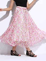 Women's Floral Blue / White Skirts,Boho Maxi
