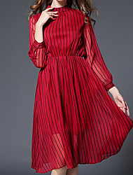 Women's Casual/Daily Sophisticated Chiffon Dress,Striped Stand Knee-length Long Sleeve Polyester Red Spring Mid Rise Inelastic