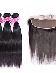 4pcs/lot Ear To Ear Lace Frontal With Bundles Malaysian Silk Straight With Closure Human Hair Lace Frontal With Baby Hair