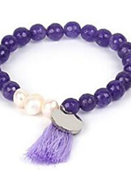 Women's Strand Bracelet Tassel Beaded Gemstone Pearl Agate Jewelry For Casual