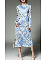 Women's Casual/Daily Simple Sheath Dress,Print Stand Knee-length Long Sleeve Blue Polyester Spring Low Rise Micro-elastic Medium