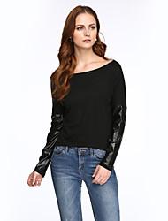 Damen Einfarbig Street Schick Lässig/Alltäglich T-shirt,Rundhalsausschnitt Herbst Langarm Schwarz Baumwolle / Kunstseide Dünn