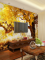 JAMMORY Art DecoWallpaper For Home Wall Covering Canvas Adhesive required Mural Yellow Big Tree XL XXL XXXL