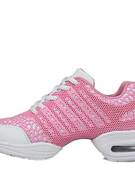 Women's Dance Shoes Sneakers Breathable Leather Low Heel Black/White/Pink/Fuchsia