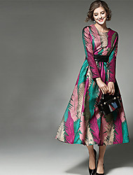 Women's Casual/Daily Sexy A Line Dress,Geometric Round Neck Midi Long Sleeve Rayon Multi-color Summer Mid Rise Inelastic