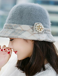 Women 'S Autumn And Winter Fashion Hats Pearl Rabbit Hair Thicker Basin Cap Winter Plaid Small Hat