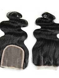Hair Brazilian body wave lace closure middle part free part 2 options human hair lace closure 4*4 8 to 22inch Chinese Lace 100G gram Petite Cap Size