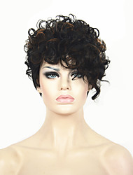 Short Curly Black and Brown mix Wig African American Wigs For Black Women Haircut Synthetic Highlight Natural Wig