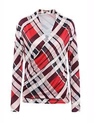 Damen Druck Einfach Lässig/Alltäglich T-shirt,V-Ausschnitt Herbst Langarm Rot Polyester Mittel