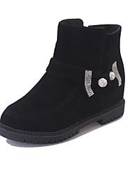 Women's Boots Winter Comfort PU Casual Low Heel Rhinestone Black Red Dark Brown Other