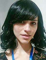bangs oblíqua ondulado natural perucas de cabelo humano sem capa