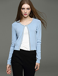 Women's Going out Cute Short Cardigan,Solid Beaded Round Neck Long Sleeve Blue White Nylon Spring Micro-elastic
