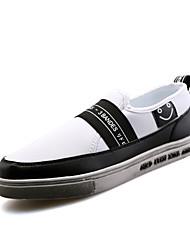 Masculino-Mocassins e Slip-Ons-Conforto-Rasteiro-Preto Preto e Dourado Preto e Branco-Tecido-Casual