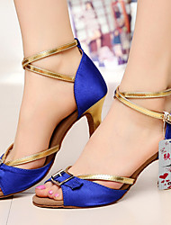 Customizable Women's Dance Shoes Latin Satin Customized Heel Black/Blue