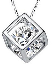 Women's Pendant Necklaces Sterling Silver Zircon Cubic Zirconia Jewelry Basic Silver Jewelry Casual 1pc