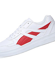 Women's Athletic Shoes Comfort Microfibre Spring Summer Fall Winter Casual Walking Comfort Lace-up Flat Heel White Black/White Red/White