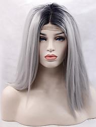 resistente à cor cinza peruca fibra do cabelo sintético raiz renda preta sintética frente peruca de cabelo em linha reta de calor para