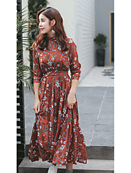 Women's Going out Cute Chiffon Dress,Floral Stand Midi Long Sleeve Polyester Blue Red Spring Mid Rise Micro-elastic