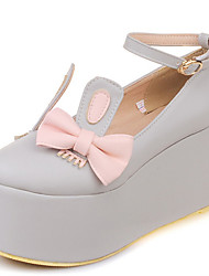 Women's Shoes Wedge Heel Round toe Platform Bowknot Ankle Strap Cute Pump More Color Available