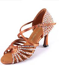 Women's Sandals Summer Other Satin Dress Stiletto Heel Sparkling Glitter Buckle Black Light Brown Fitness & Cross Training