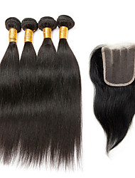 Indian Virgin Hair Extensions Weave Weft Texture Straight Human Black Hair Remy 4 Bundle With Lace Closure New Style