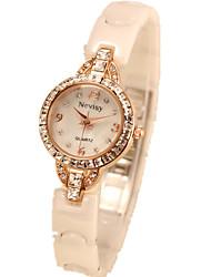 Women's Dress Watch Fashion Watch Simulated Diamond Watch Quartz Imitation Diamond Ceramic Band White
