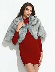 Women's Going out Club Vintage Fur Coat Winter Gray Faux Fur